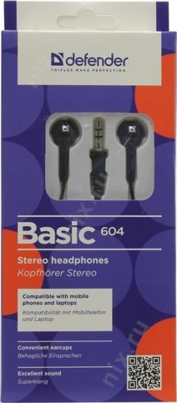 Наушники Defender Basic 604 черный (63604)