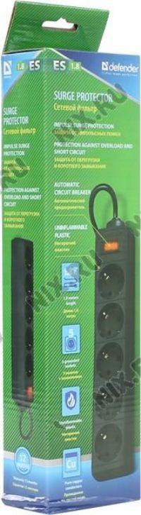 Сетевой фильтр  (1,8м)  Defender ES  1.8м Black ( 5 розеток )черный 99484