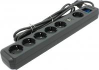 Сетевой фильтр  (2м)  Defender DFS 501 USB Charger 6 роз., 2 USB порта