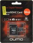 Модуль памяти Flash: microSDHC 16Gb Qumo QM16(G)MICSDHC10 Class10 + SD  Adapter