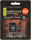 Модуль памяти Flash: microSDHC 16Gb Qumo QM16GMICSDHC10U1 UHS-I + SD  Adapter
