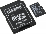 Модуль памяти Flash: microSDHC 16Gb Kingston (+SD adapter) SDCS/16GB UHS-I, Class 10