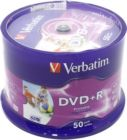 Диск DVD+R     4.7Gb Verbatim 16x (в уп-ке на шпинд. 50шт) Cake Box 43512, InkJet Printable