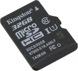 Модуль памяти Flash: microSDHC 32Gb Kingston SDCS/32GBSP Class 10 UHS-I U1